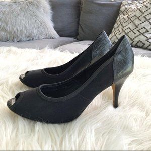Donald J Pliner Couture Black Zorba Peep Toe Pumps